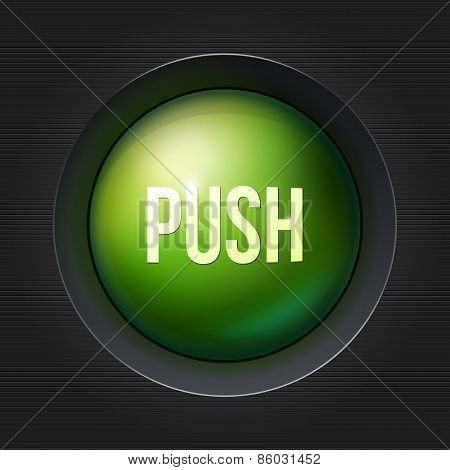 Green push button at dark plactic background