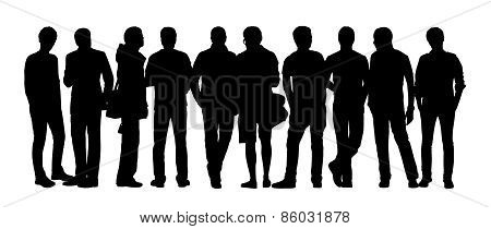 Large Group Of People Silhouettes Set 11