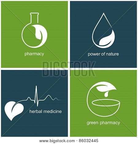 Green pharmacy and herbal medicine icons