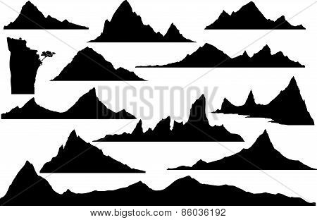 Vector silhouettes of mountains.