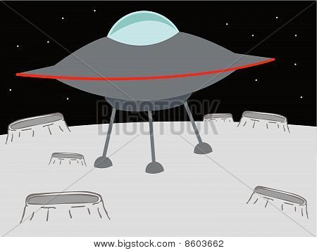 UFO landing on a crater like planet