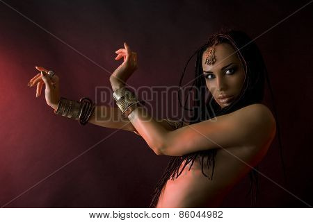 Fashion Beauty And Stylish Hair (dreadlocks). Spirituality Dance. Beautiful Sexy Woman With Luxury G