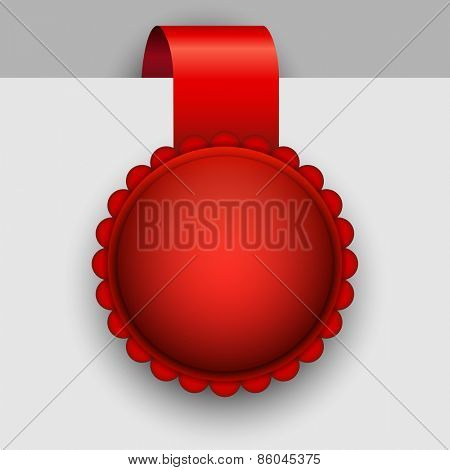 Blank red rosette tag vector template.