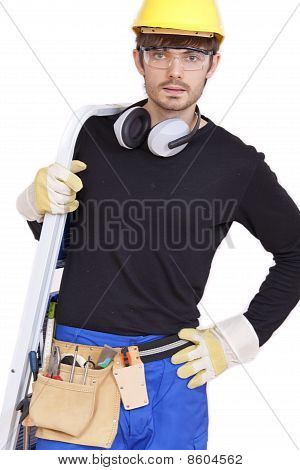 Worker With Ladder