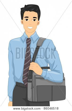 Illustration of a Man in an Office Attire Carrying a Laptop Bag
