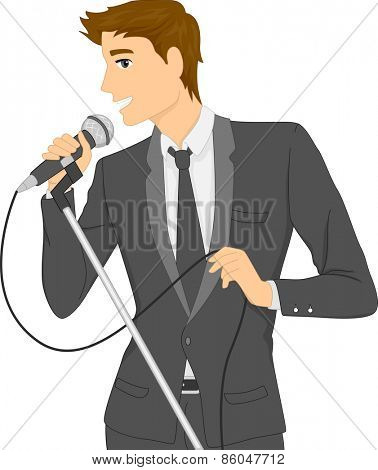 Illustration of a Man in a Suit Singing Using a Microphone