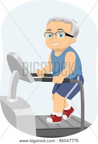 Illustration of a Senior Citizen Running on a Treadmill