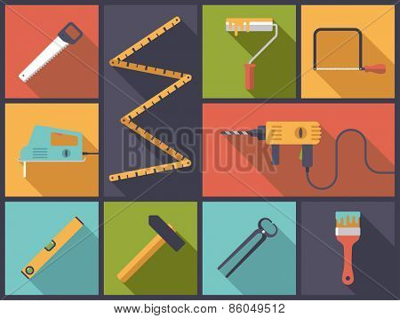 Home improvement tools Flat Icons Vector Illustration. Flat design illustration with various icons related to home improvement and crafts.