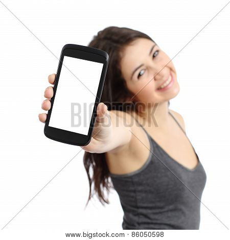Happy Promoter Girl Showing A Blank Smart Phone Screen