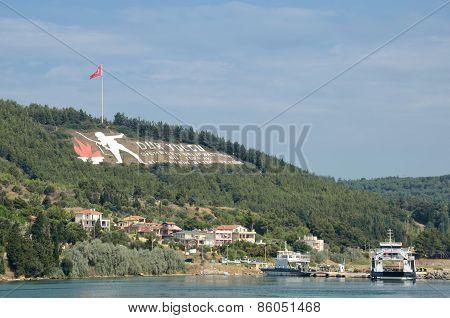 Dur Yolcu Memorial Sign, Canakkale, Turkey