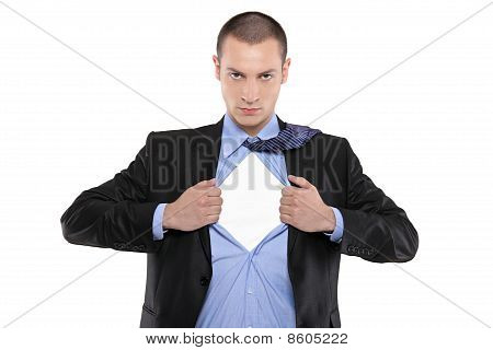 Superhero Businessman Opening Blue Shirt