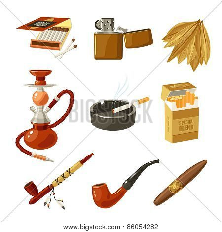 Tobacco and smoking decorative icons set with matches lighter cigarette pack isolated vector illustration poster