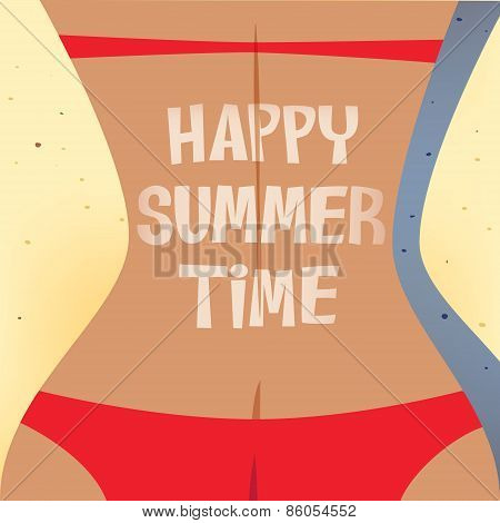 Girl Sunbathing Happy Summer Time