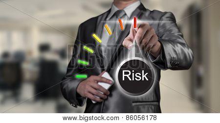 Businessman Working On Risk Management, Business Concept