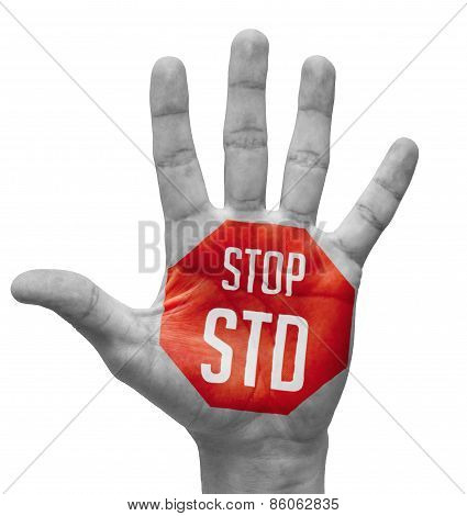 Stop STD red Sign Painted On Hand.