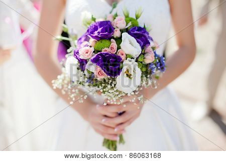 Wedding bouquet with roses and alstromeria