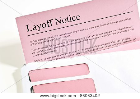 Layoff Notice or 'Pink Slip'