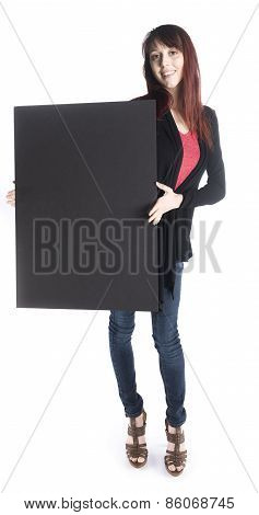 Smiling Woman Holding Empty Black Card Board