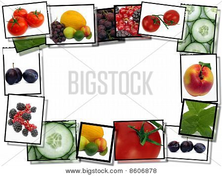 Film Frames With Fresh Healthy Food Images,   Border  On White Background With Copy Space