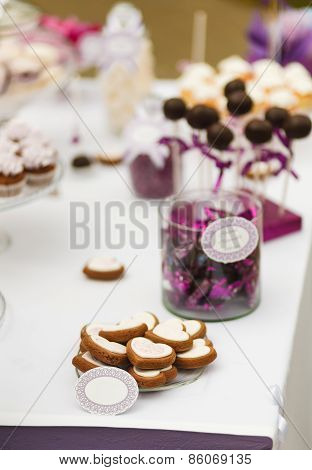 Served Festive Candy Bar Table With Buiscuits