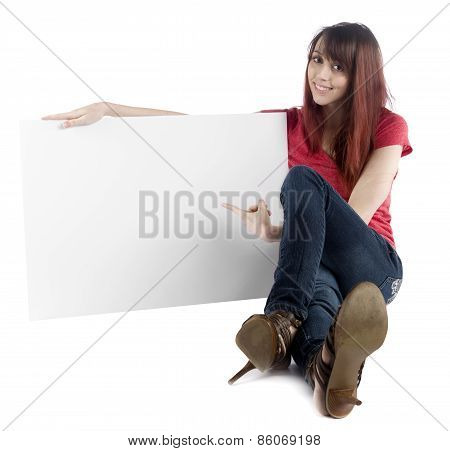 Sitting Woman Pointing at her Empty Cardboard