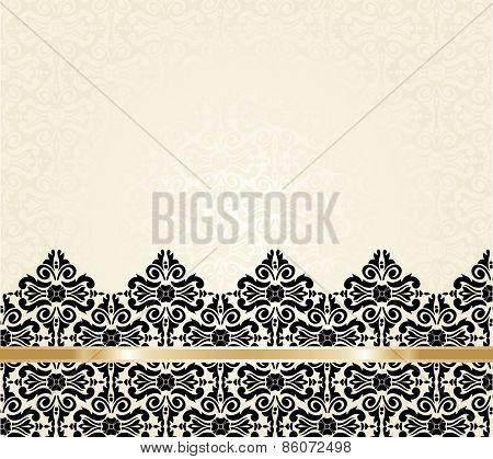 Ecru black and gold vintage invitation background