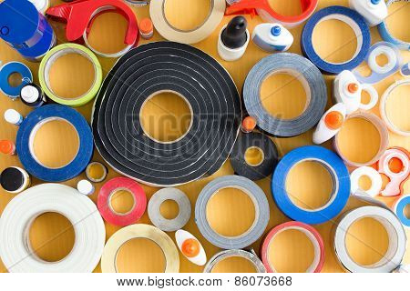 Striking Abstract Pattern Of Glue Pots And Tape
