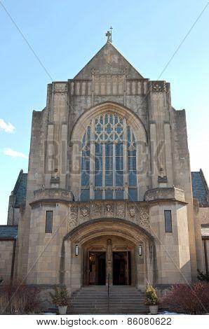 Neogothic Church Entrance In Saint Paul