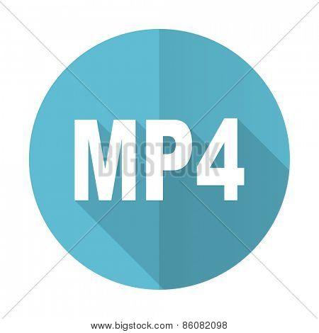 mp4 blue flat icon