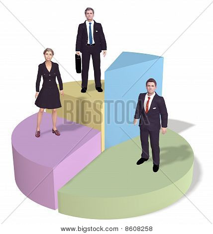 Business People Stand On Success Pie Chart