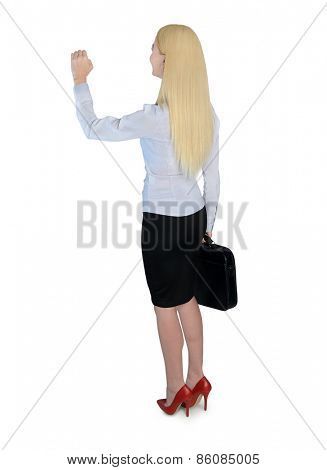 Isolated business woman knock something