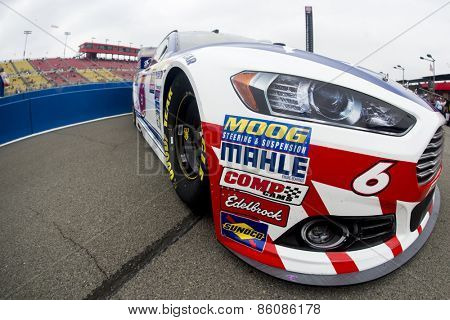 Fontana, CA - Mar 22, 2015:  The Advocare Ford Fusion sits on pit road before the start of the Auto Club 400 at Auto Club Speedway in Fontana, CA.
