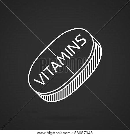 White line vector icon for vitamin tablet