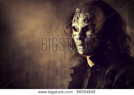 Portrait of a mysterious man in iron mask. Steampunk. Fantasy. Halloween. poster