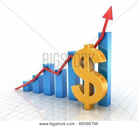 Business Chart With Dollar Symbol And Finance Concept