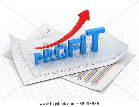 Profit Text Chart And Arrow Moving Up On Paper