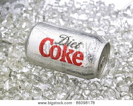 Kuala Lumpur-Malaysia : March 24,2015 Photo of a can of Coca-Cola diet. The brand is one of the most popular soda products in the world and it is sold almost everywhere