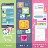 Set of icons on banners with concepts of app store, best apps and design mobile applications in flat design style. Purchase applications, commenting and rating application, development web page of app poster