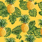 Pineapples and Tropical Leaves Background -Vintage Seamless Pattern - in vector