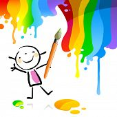 Little girl painting with spectrum colors, cute smiling artist kid. Happy kids doodle style sketchy vector illustration. poster