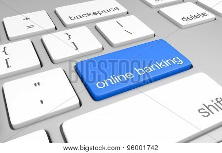 Online banking account access key on a computer keyboard