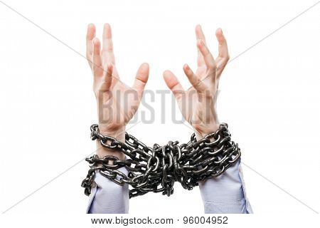 Business problems and failure at work concept - businessman with metal chain knot tied hands raised up for rescue help white isolated