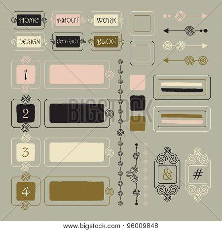 Cute outline spiral web site portfolio and blog design elements set