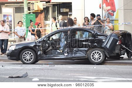 One of the cars involved
