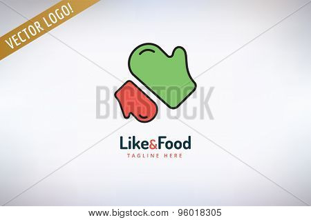 BBQ mitten Vector Logo. Food, Kitchen or Meat symbol. Stock design element