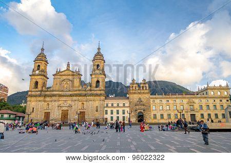 Primary Cathedral of Bogota, historic and reliigous landmark, located in Bolivar Square