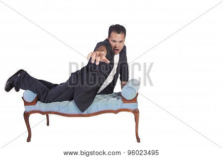 Funny Hispanic Man Posing On Chair
