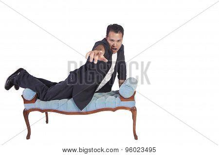 Funny Hispanic Man Posing On Chair
