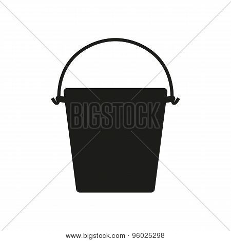 The bucket icon. Pail and bucketful symbol. Flat