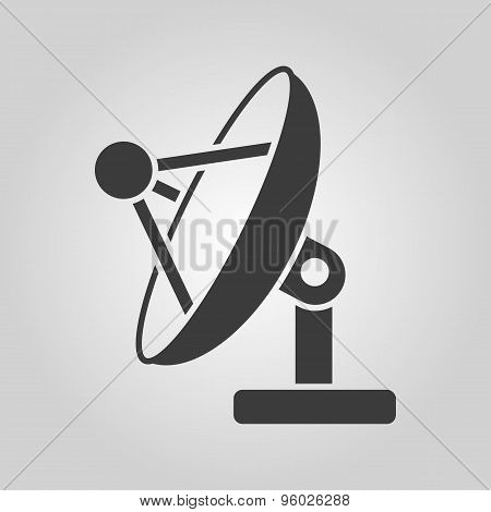 The satellite antenna icon. Communicate and broadcast, telecommunications symbol. Flat